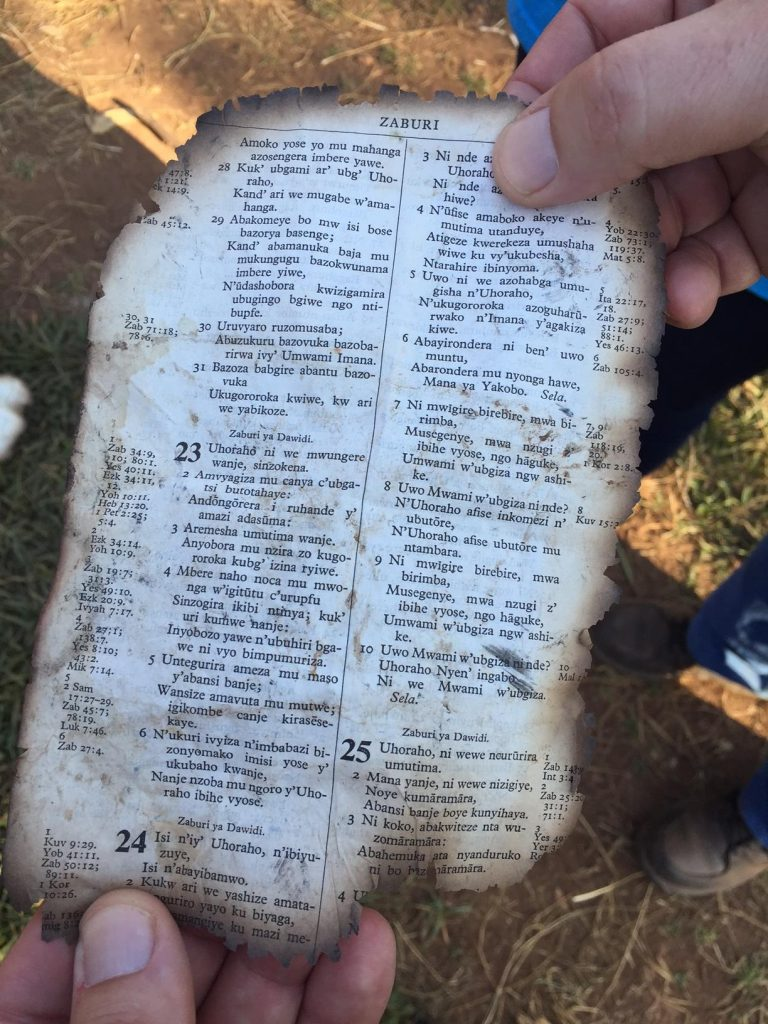 Abby found this page on the ground outside the dorm out of a Kirundi Bible…Psalm 23.